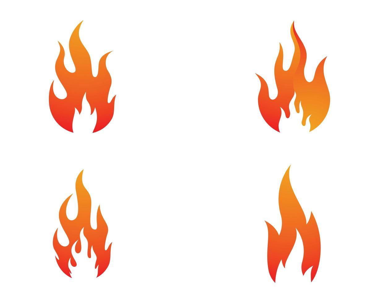 conjunto de chamas vermelhas laranja de fogo vetor
