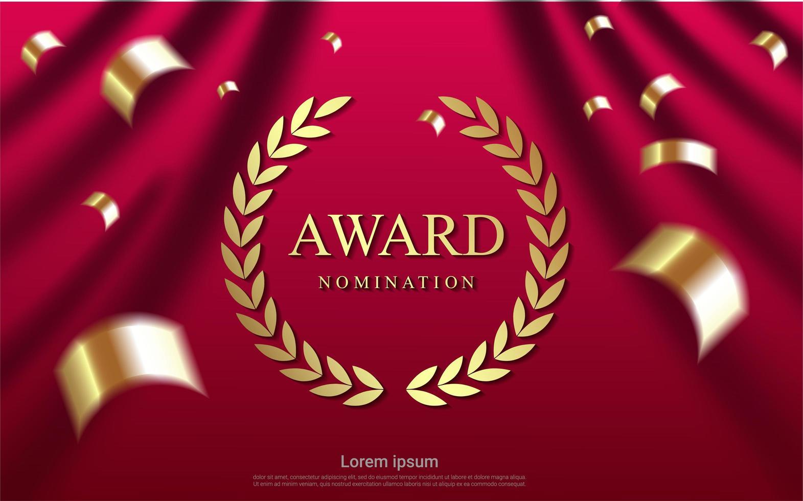 design de nomeação de prêmio r com confetes dourados vetor