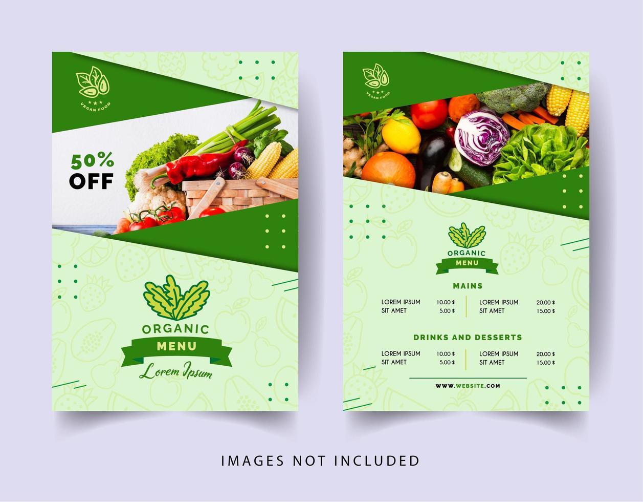 menu de restaurante vegetariano de estilo minimalista vetor
