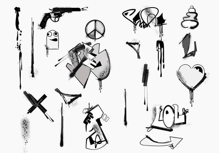 Pacote de elementos vetoriais graffiti vetor