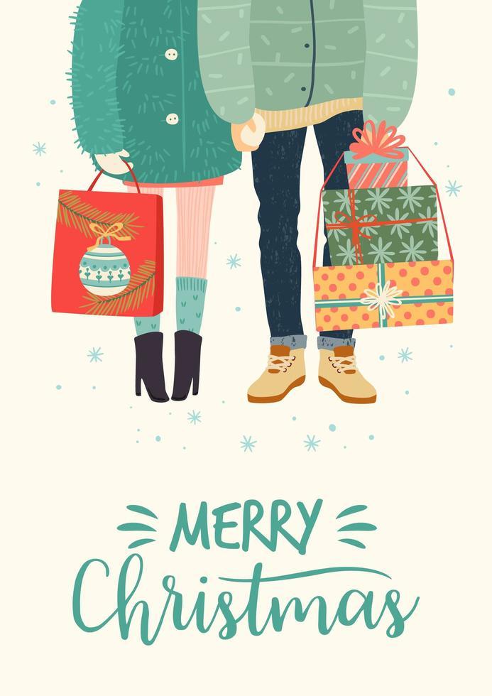 ilustração de Natal e feliz ano novo com par romântico com presentes vetor