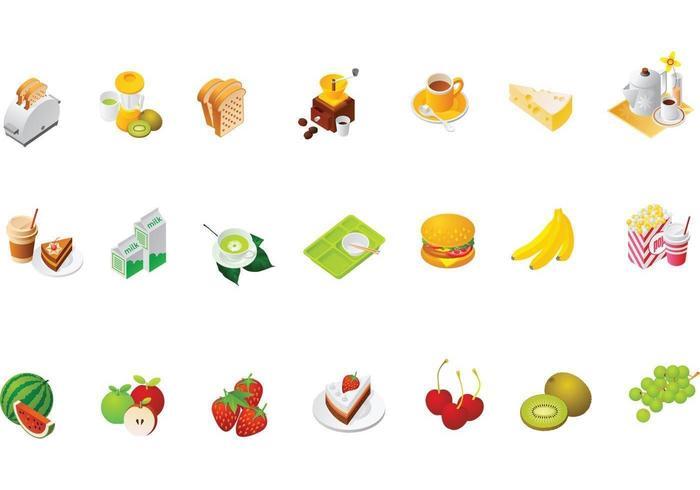 Pacote de vetores de ícones alimentares