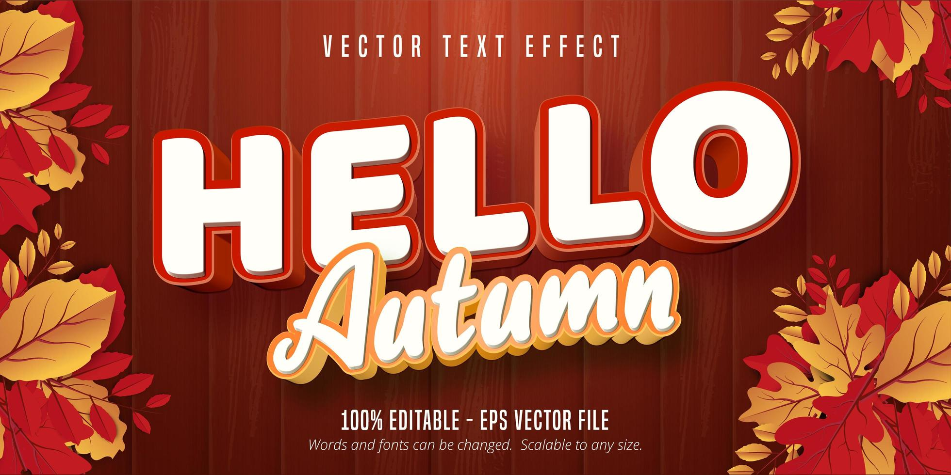 Olá efeito de texto outono vetor