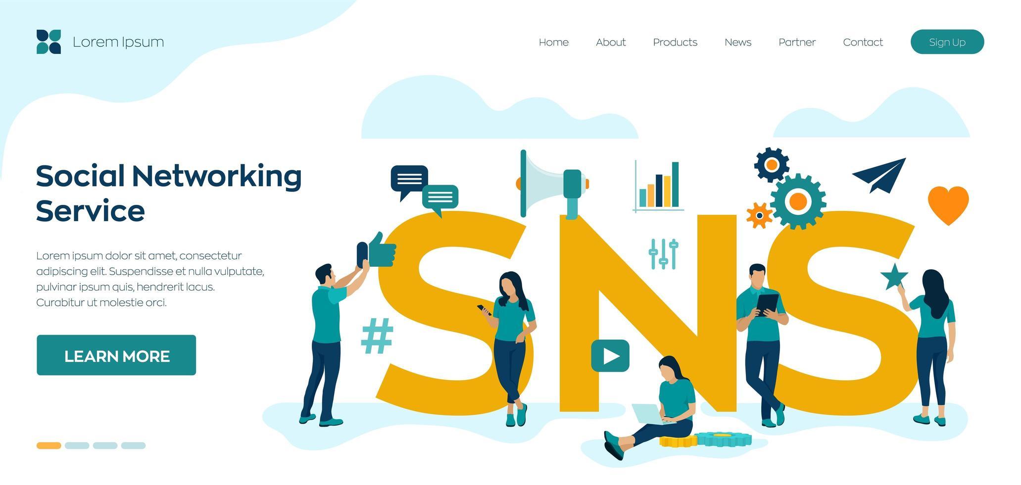 plataforma online de serviço de rede social vetor