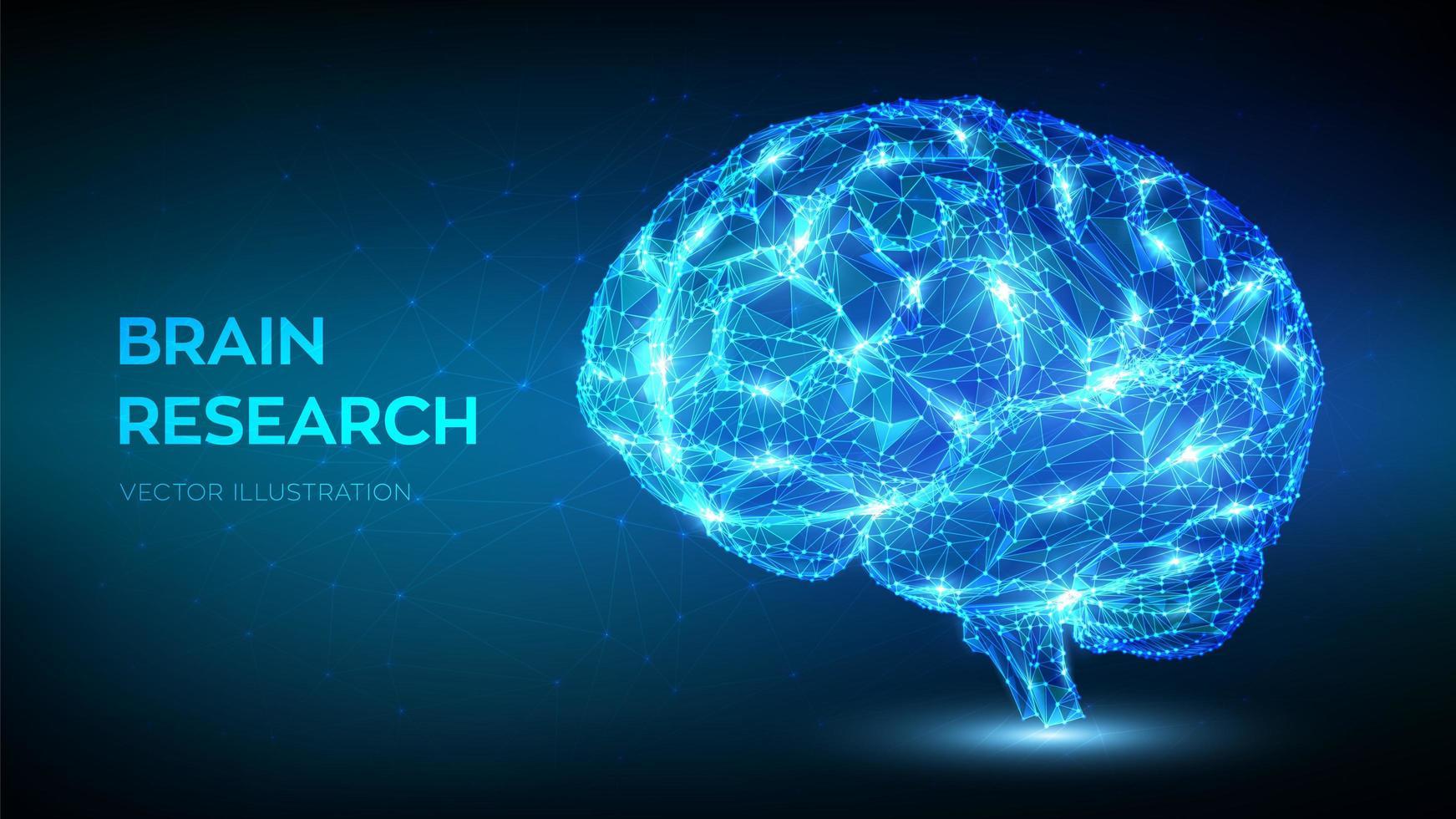 cérebro humano digital abstrato poligonal baixo vetor