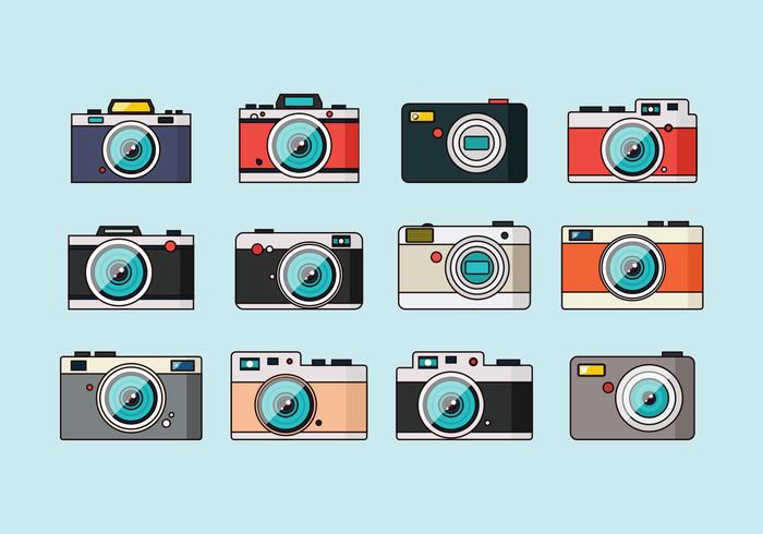 Coleção de câmeras vintage vetor