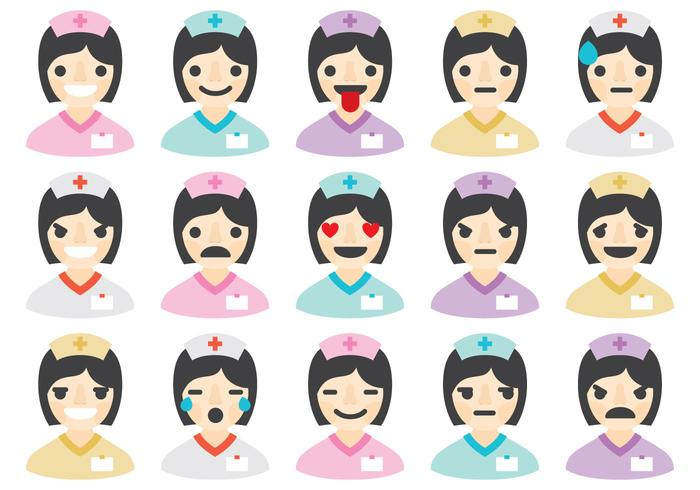 Enfermeiras Emoticons vetor
