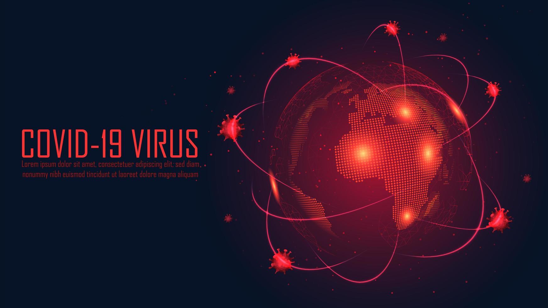 cartaz vermelho brilhante com design de surto global vetor