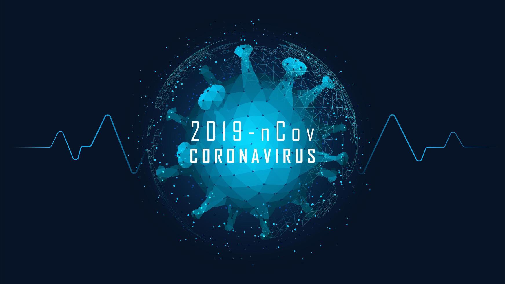 célula de coronavírus de baixo poli com símbolo de sinal de vida vetor