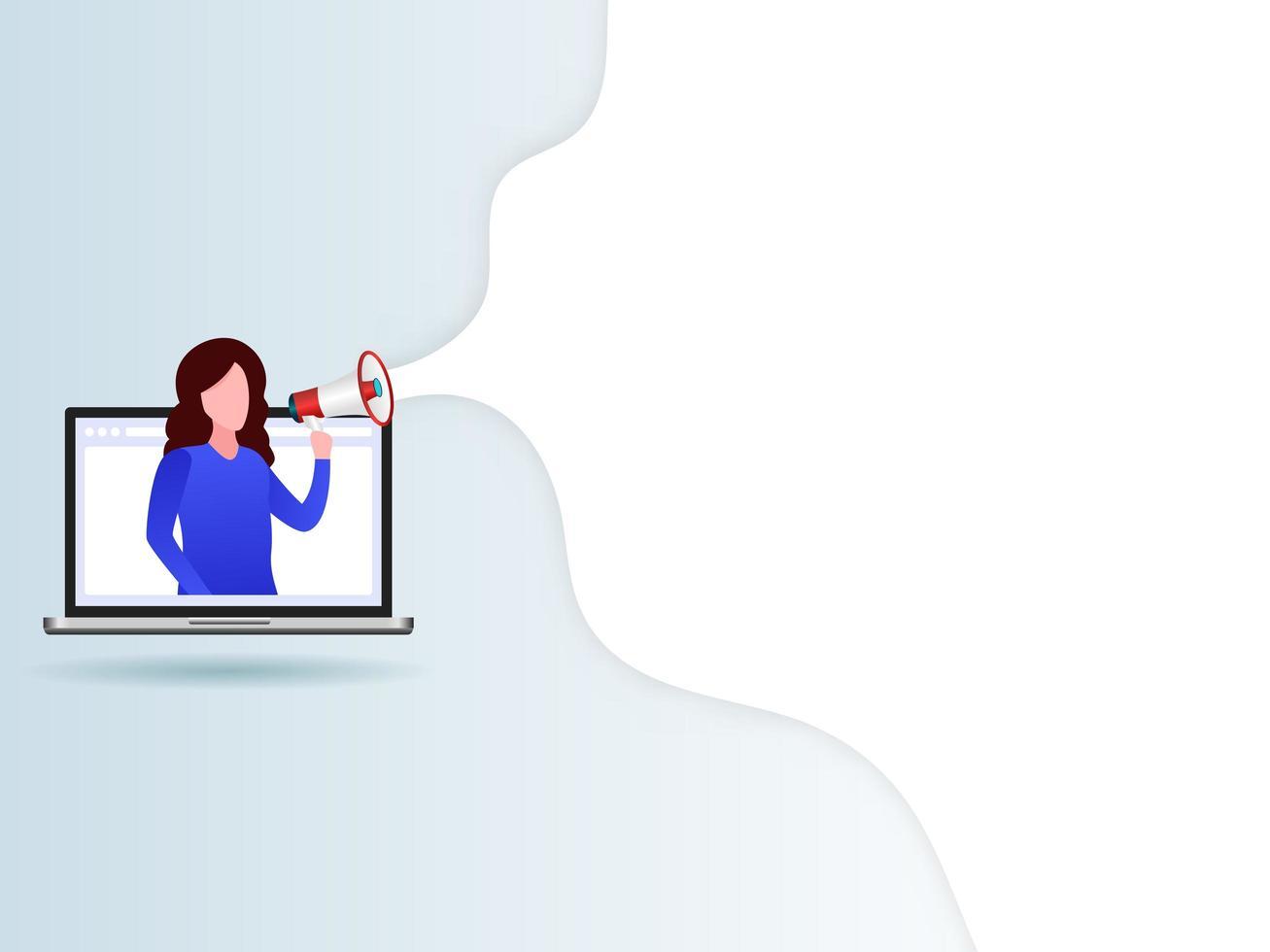 mulheres no laptop com um megafone vetor