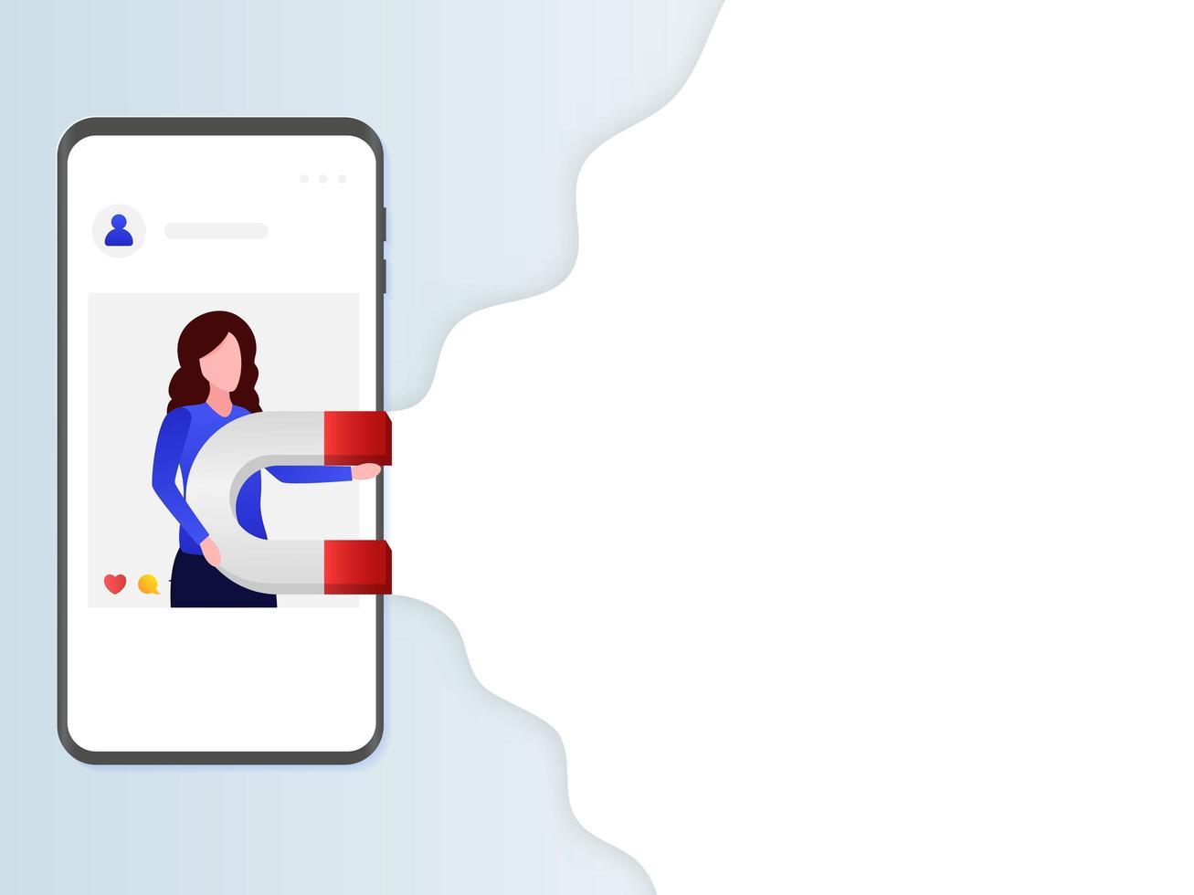 mulher segurando o ímã para a campanha de marketing de mídia social vetor