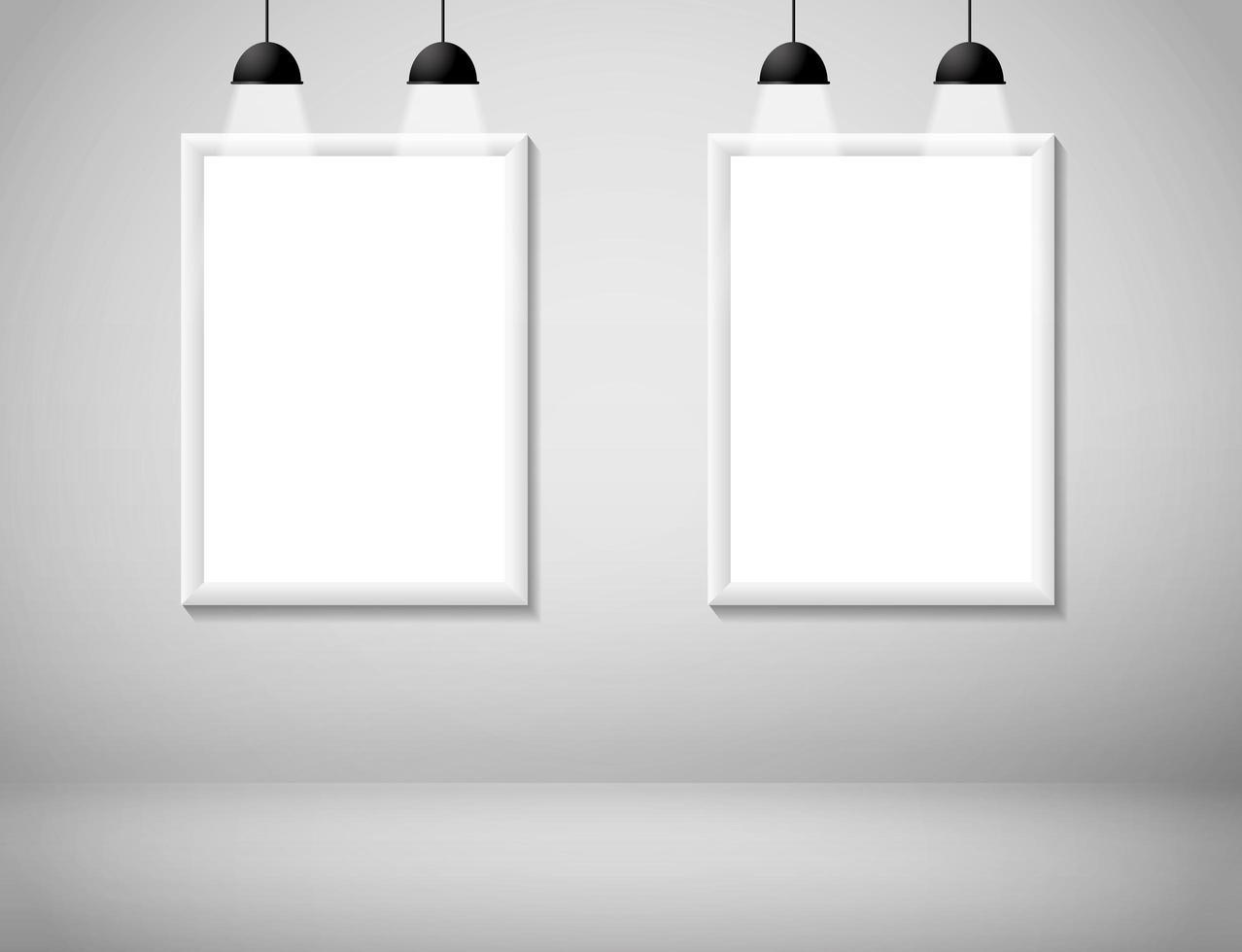 quadros brancos em branco na parede vetor