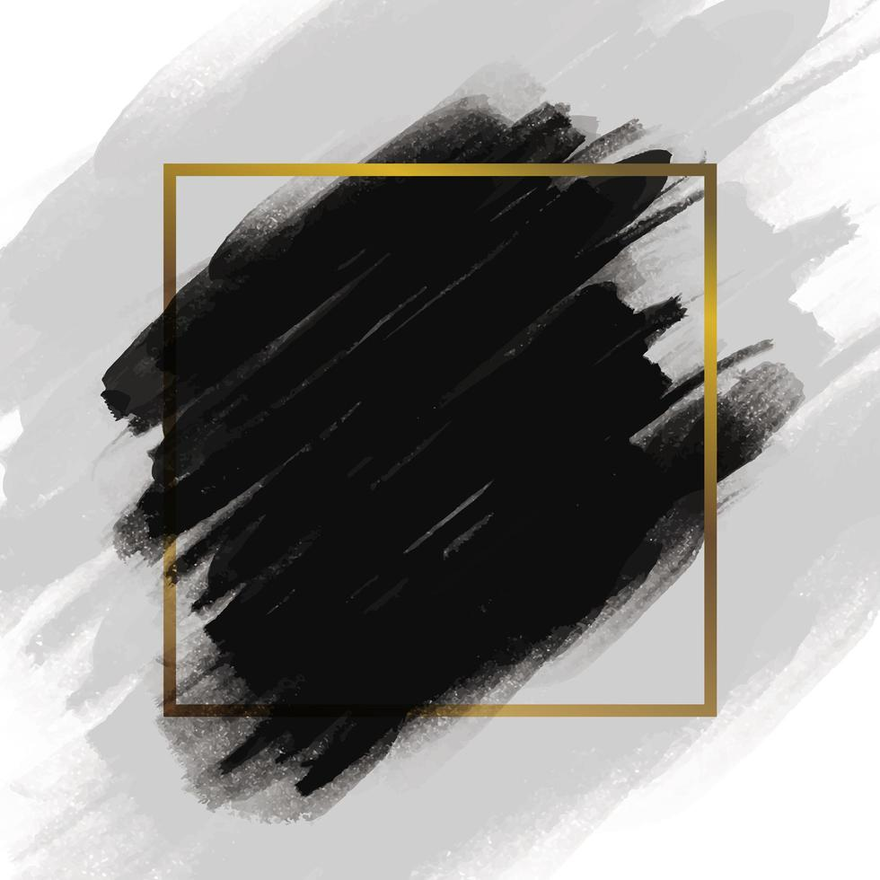 pincelada preto com moldura de ouro vetor