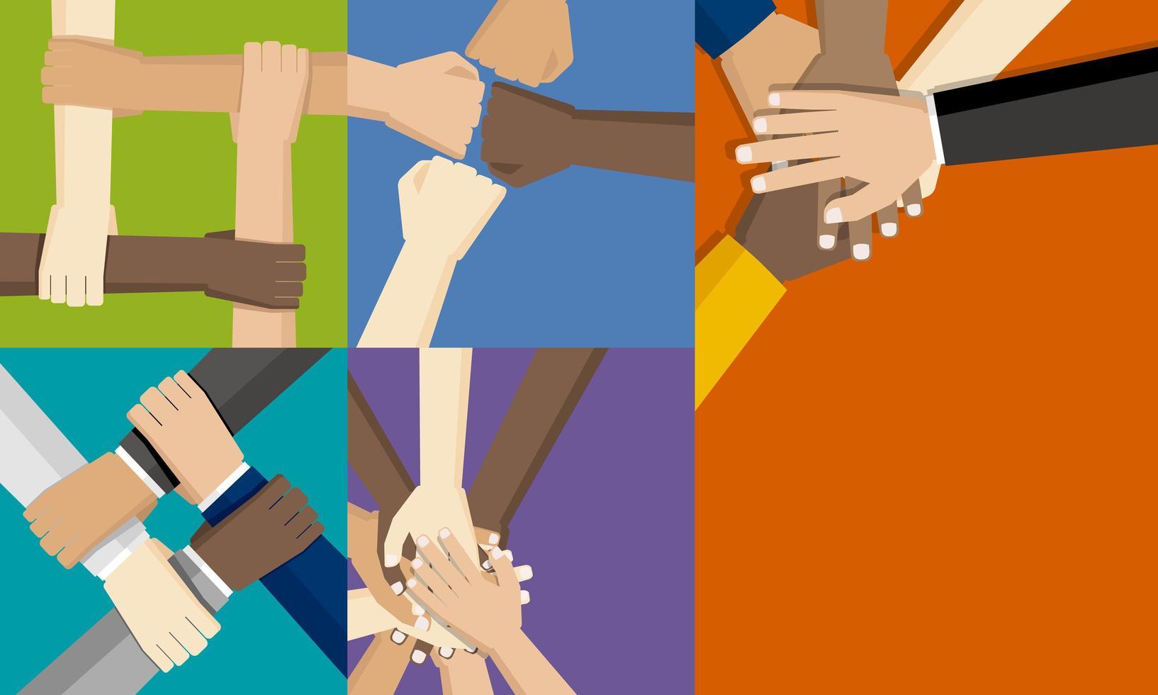 grupos pessoas colocando as mãos juntas vetor