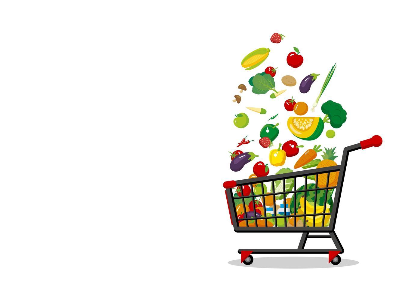 Carrinho De Compras Com Frutas E Legumes Download Vetores Gratis Desenhos De Vetor Modelos E Clipart