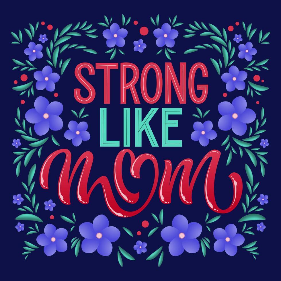 forte como tipografia mãe e flores vetor