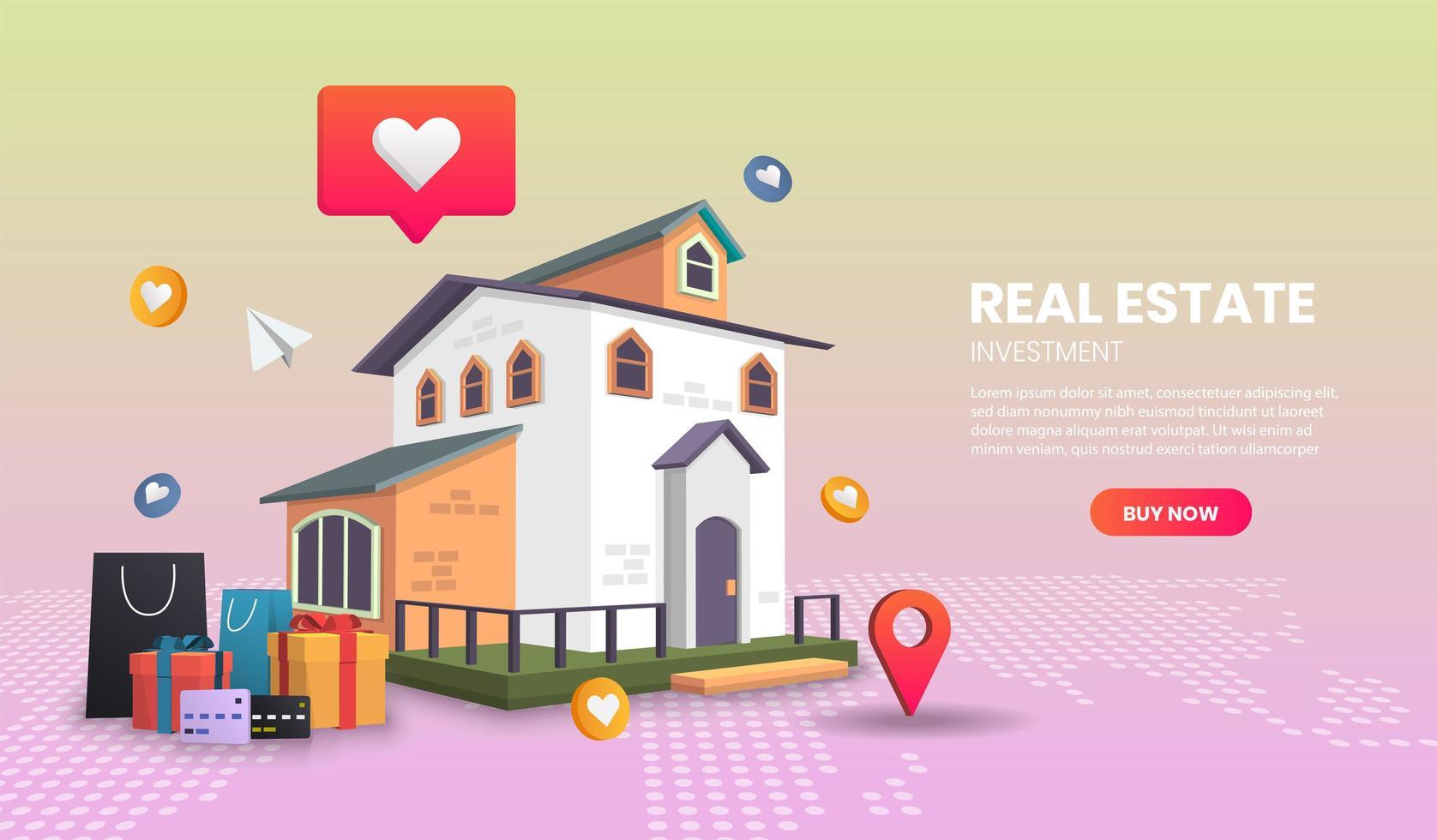 página de destino do investimento imobiliário vetor