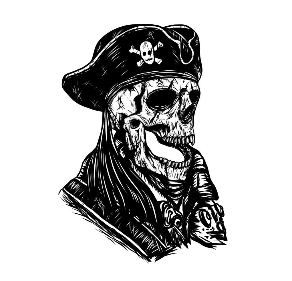 desenho de mão de caveira pirata vetor