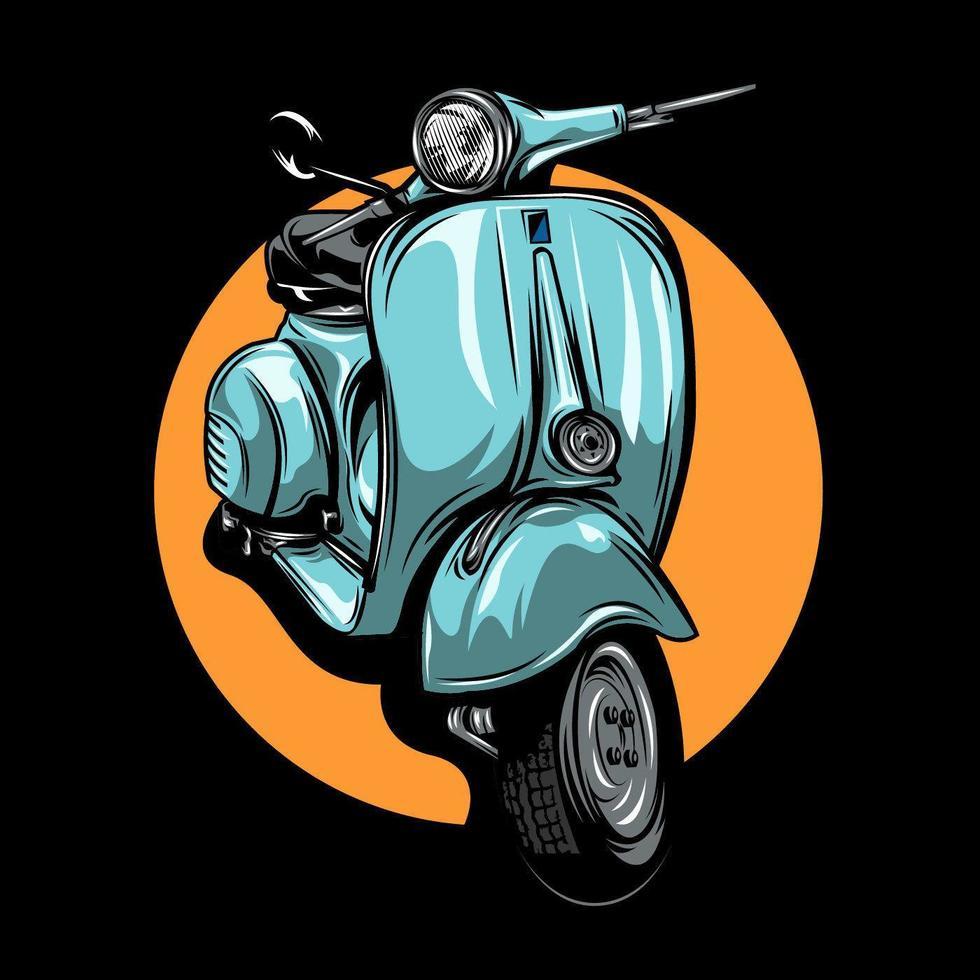 scooter azul claro vintage vetor