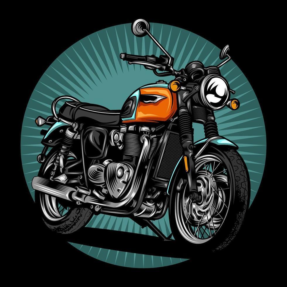 moto retrô laranja, azul vetor