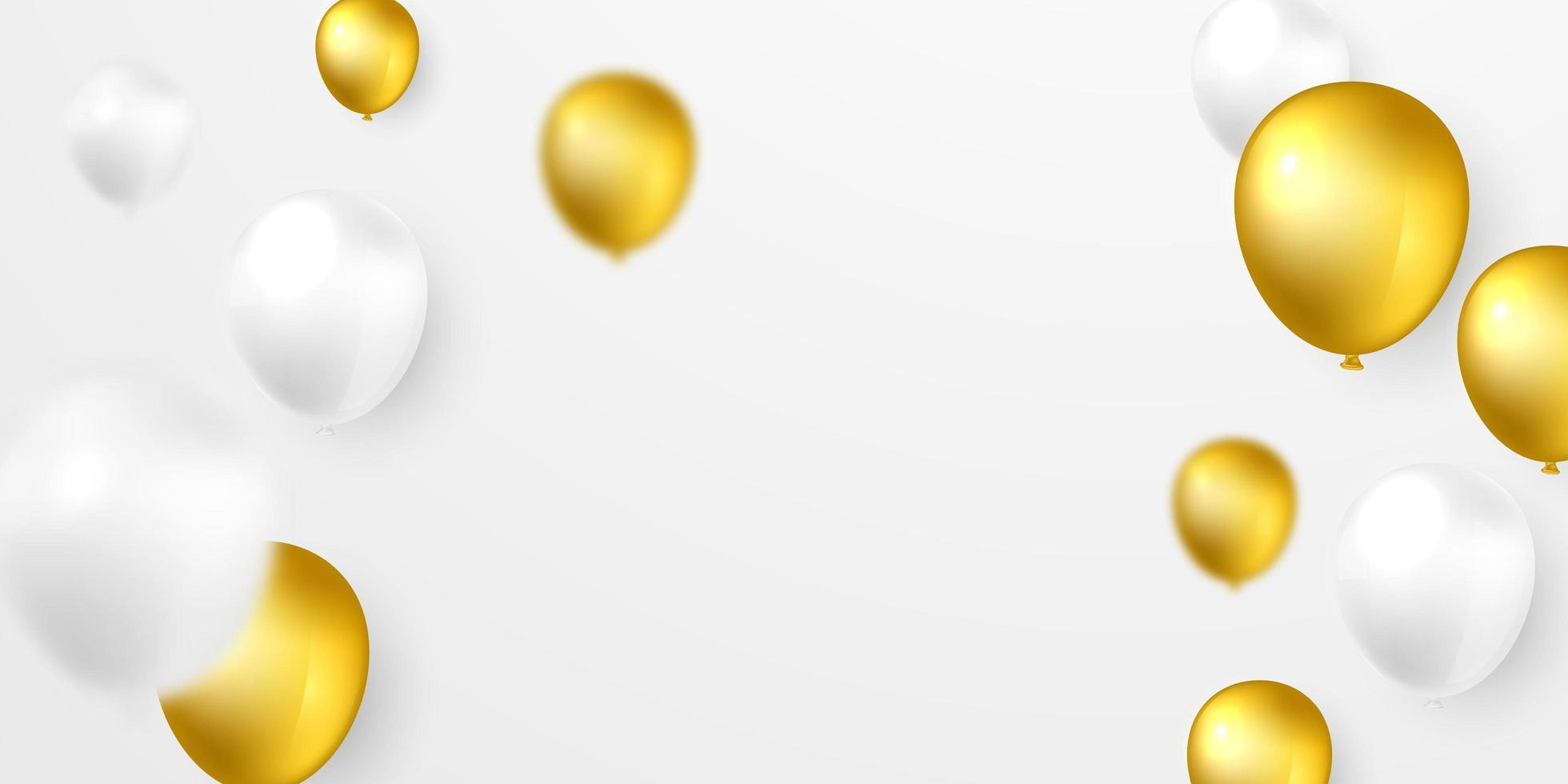 fundo de balão de hélio branco e dourado vetor