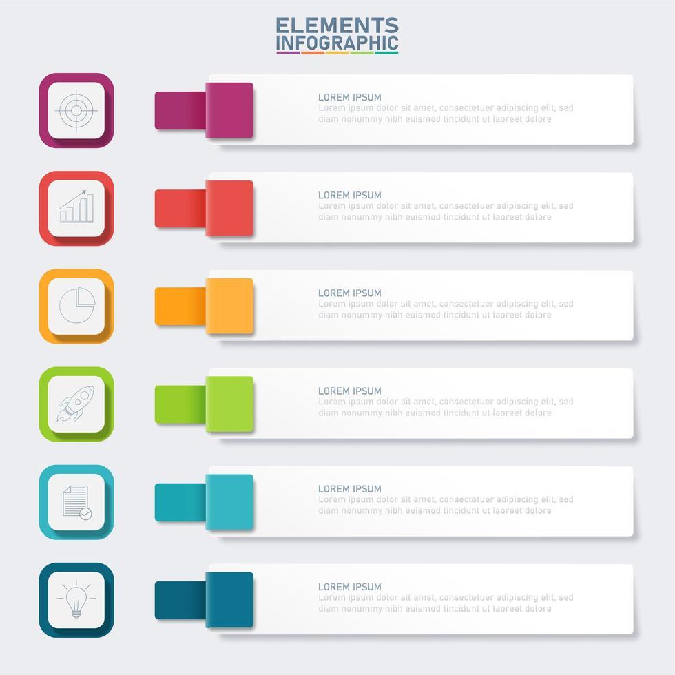 infográfico de banner colorido com 6 etapas vetor