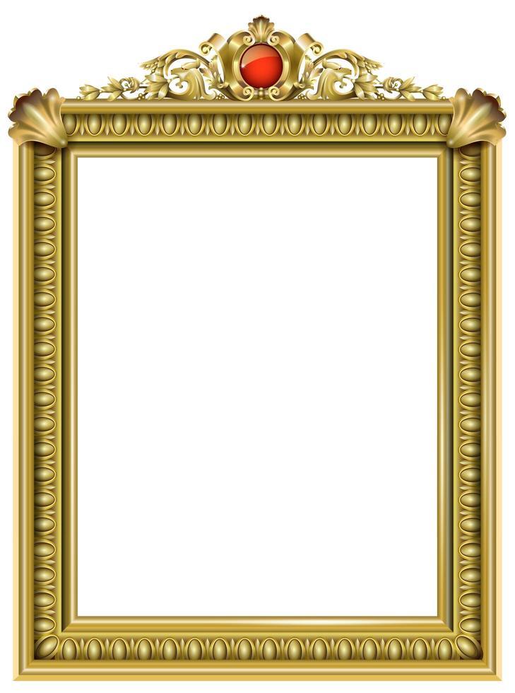 moldura barroca clássica dourada com jóia vermelha vetor