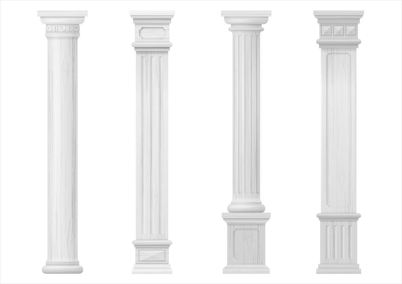 colunas arquitetônicas esculpidas em madeira clássica branca vetor
