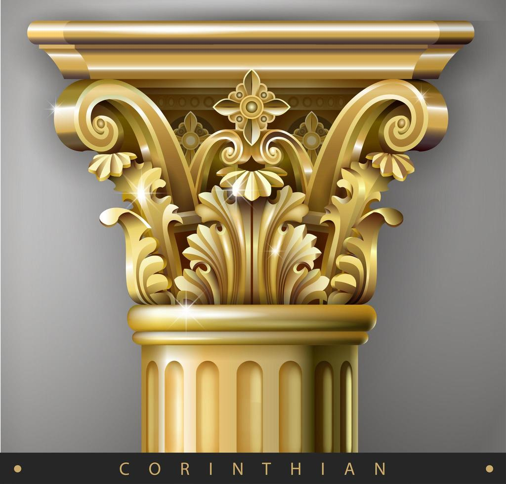 capital dourada da coluna iônica vetor