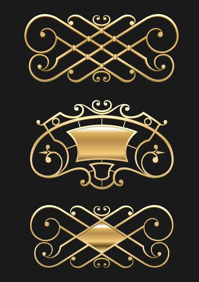 vinheta de ouro vintage ou conjunto de treliça forjada vetor