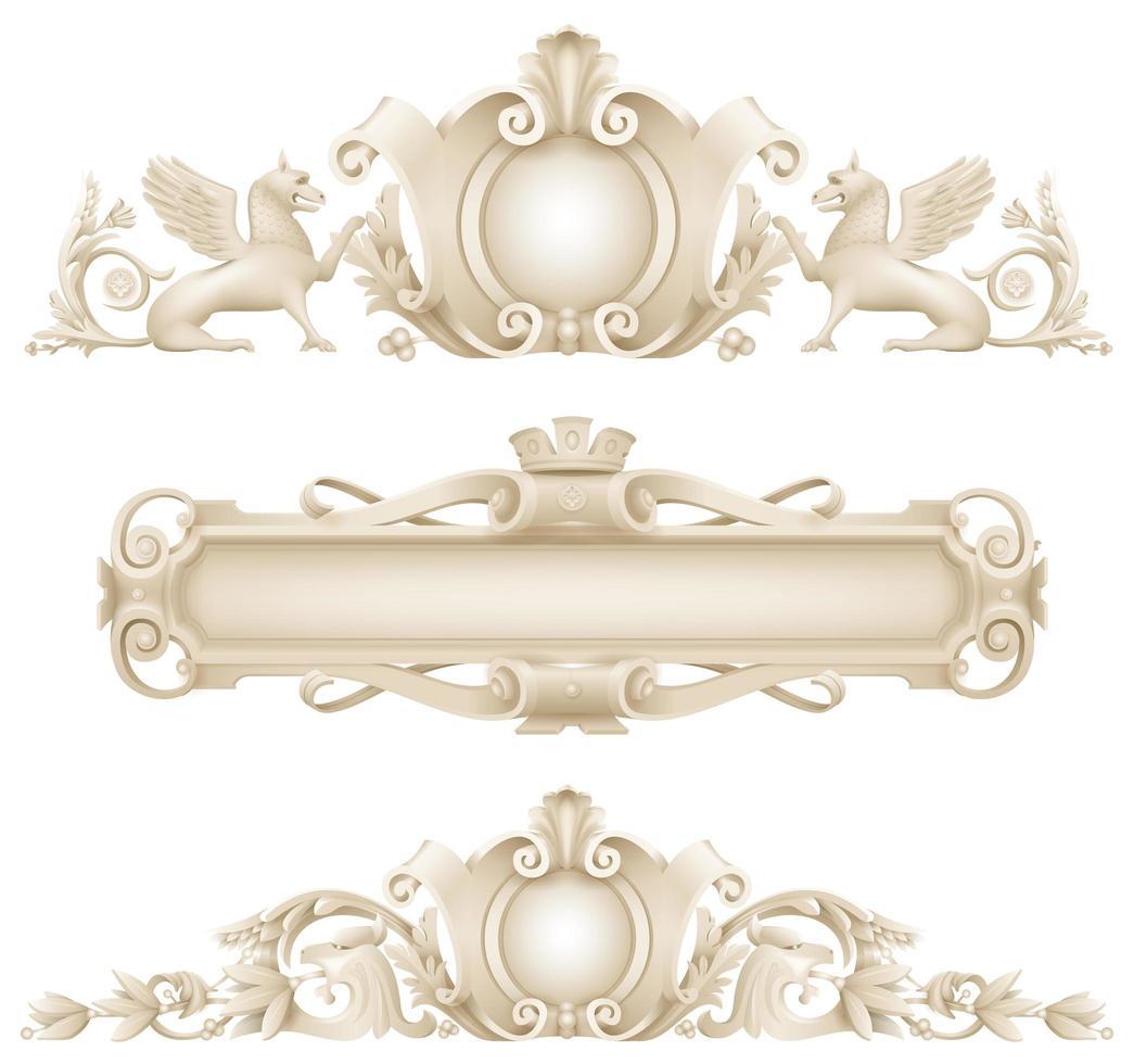 conjunto de decoração de fachada arquitetônica clássica vetor
