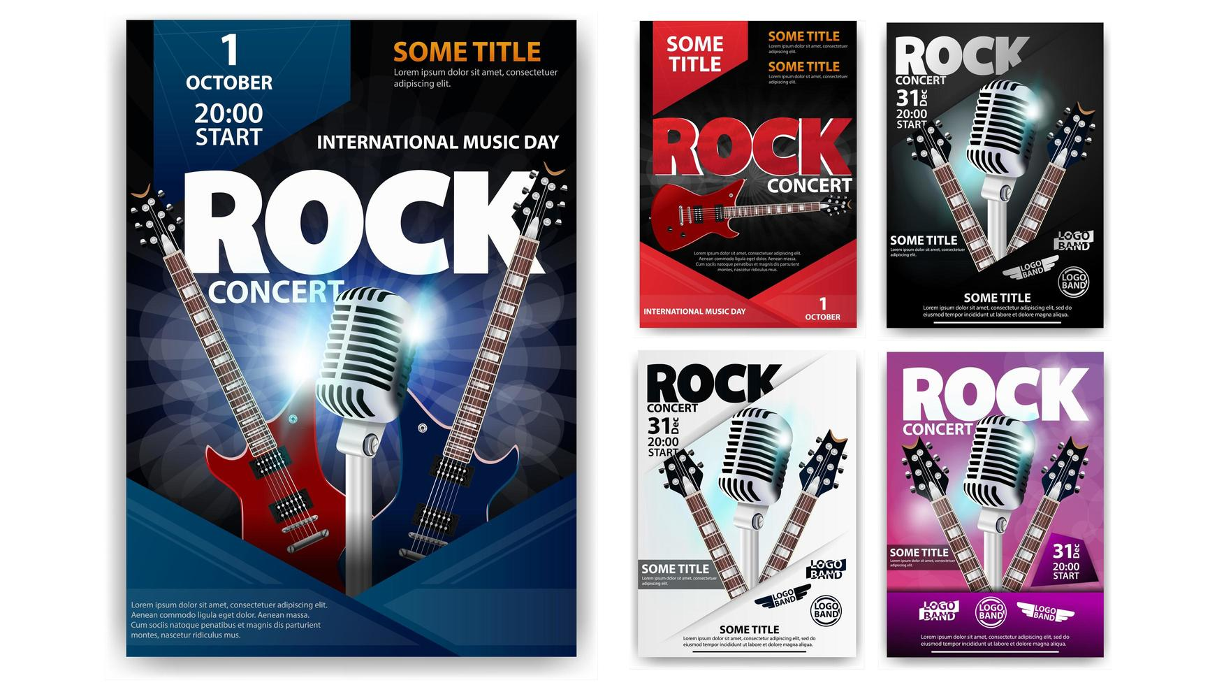 cartaz de concerto de rock definido em cores diferentes vetor