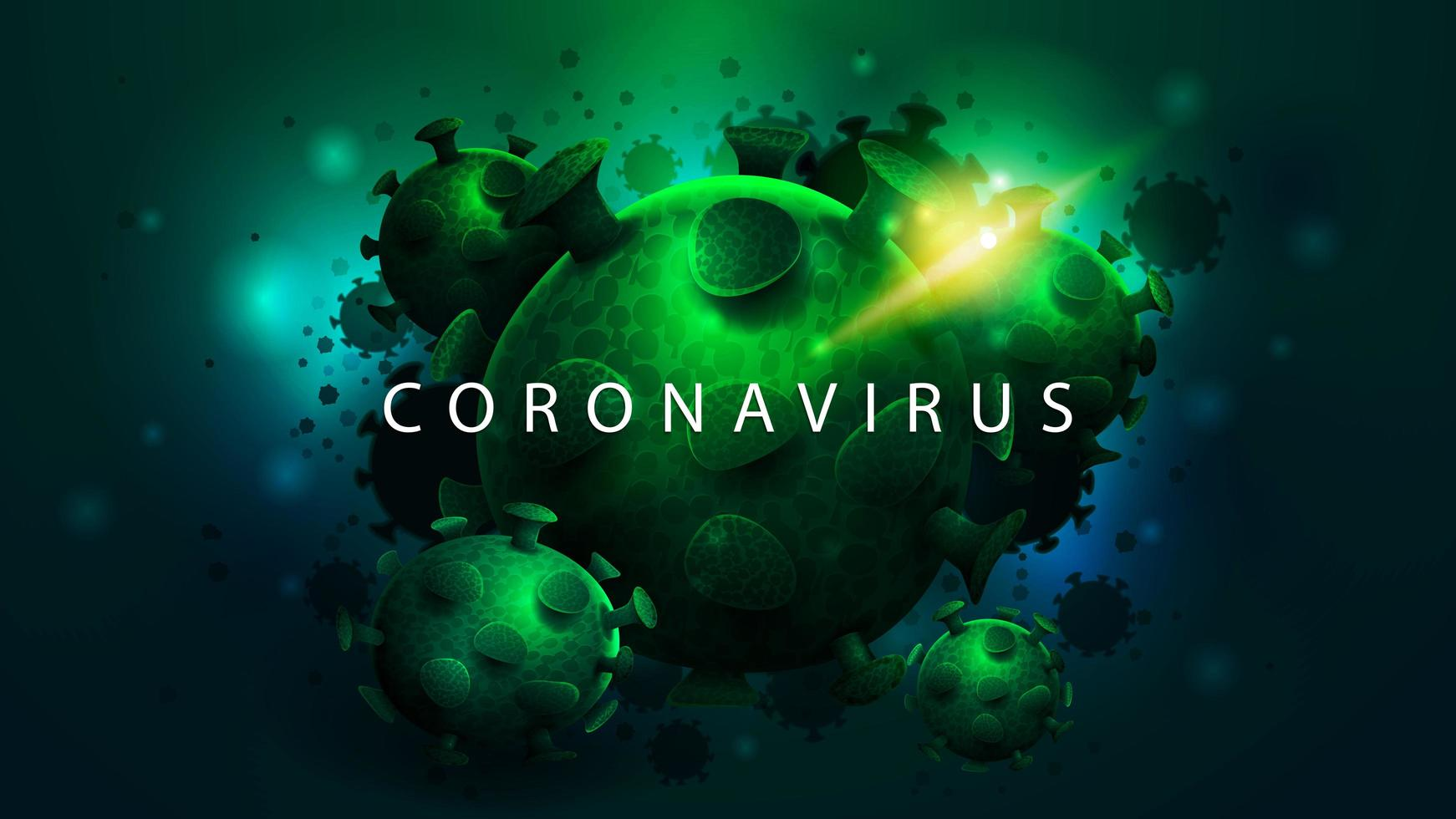 cartaz escuro com grandes moléculas de coronavírus verde vetor