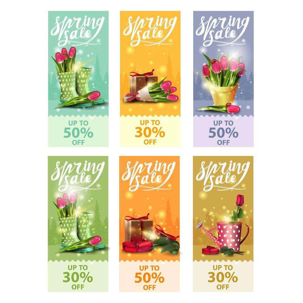 banners verticais de primavera venda com buquês de flores vetor