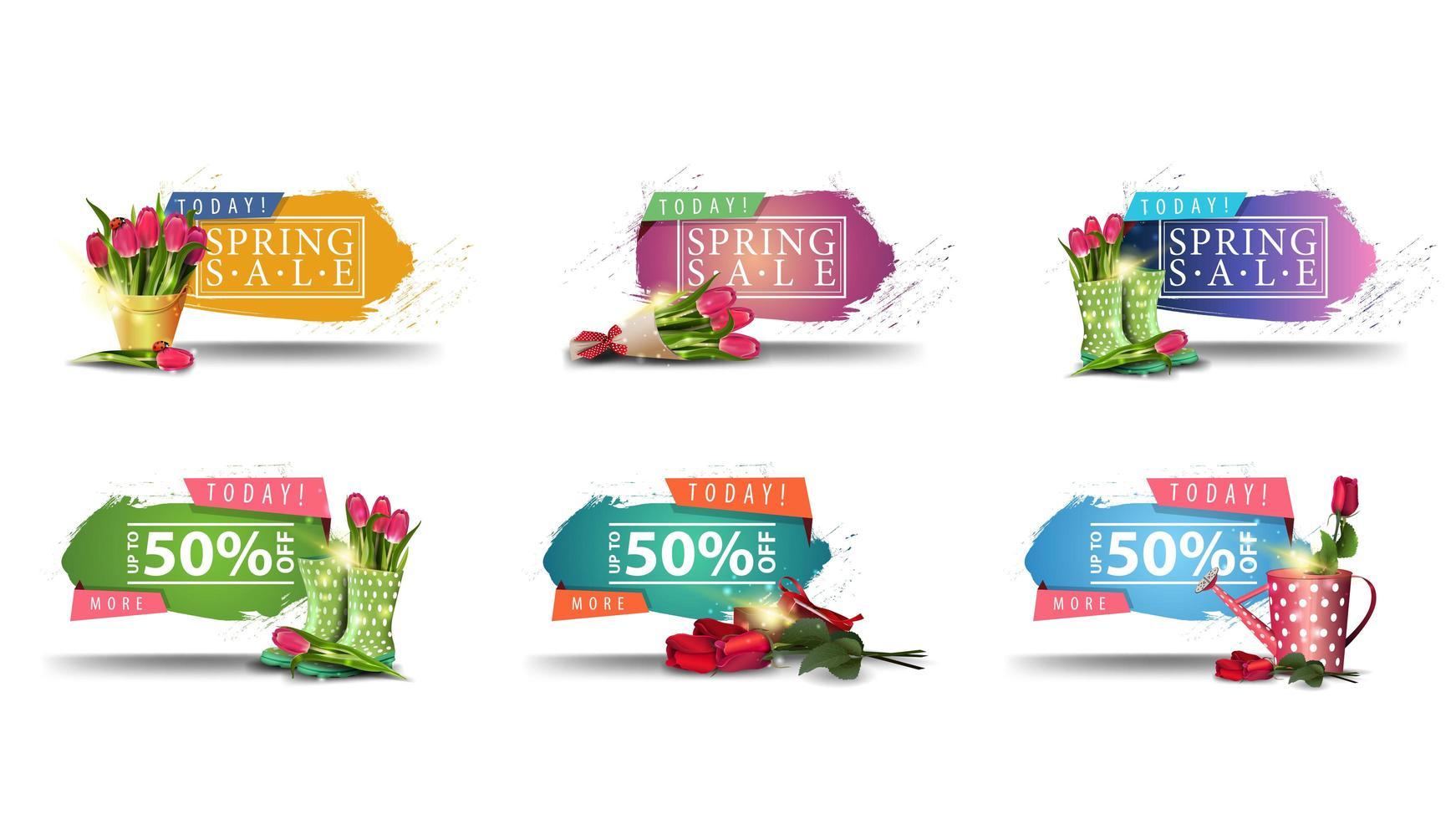 banners de venda primavera com bordas irregulares e flores vetor