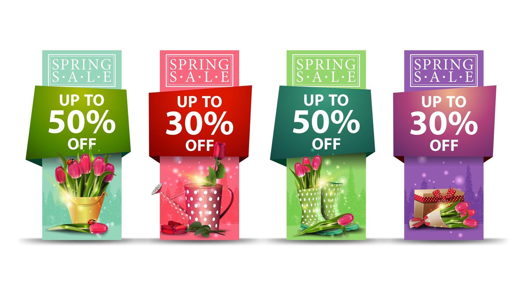 banner vertical de venda de primavera definido em várias cores vetor