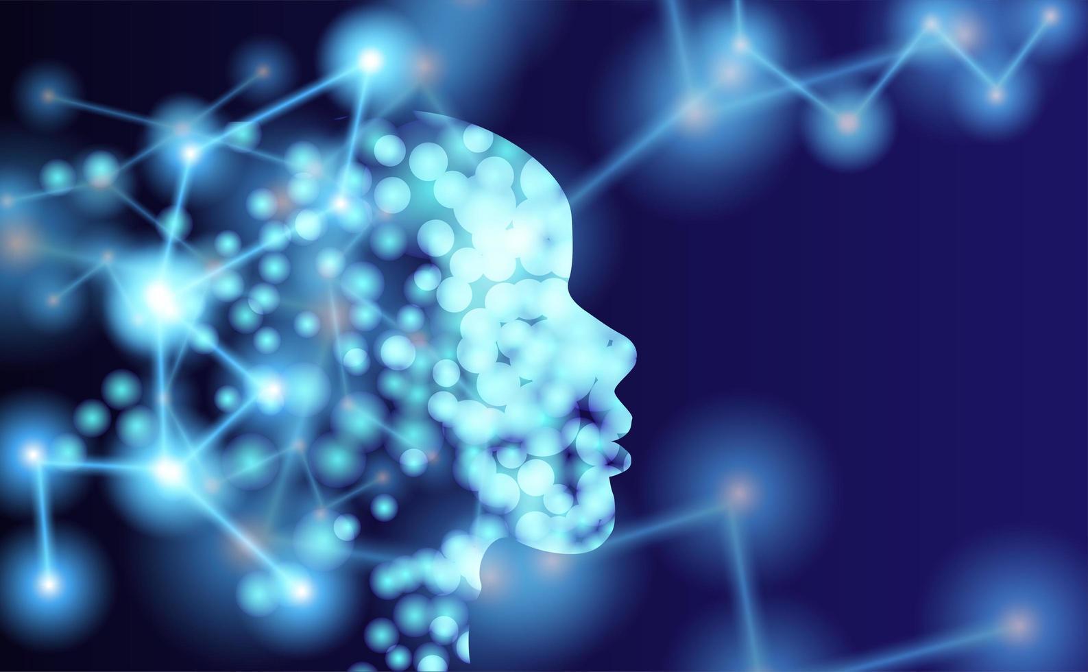 contorno da cabeça humana com moléculas vetor