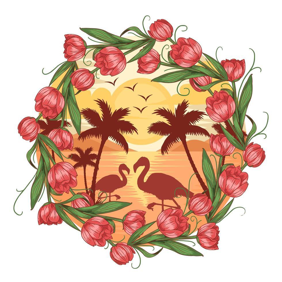 design de moldura de flor flamingo de verão vetor