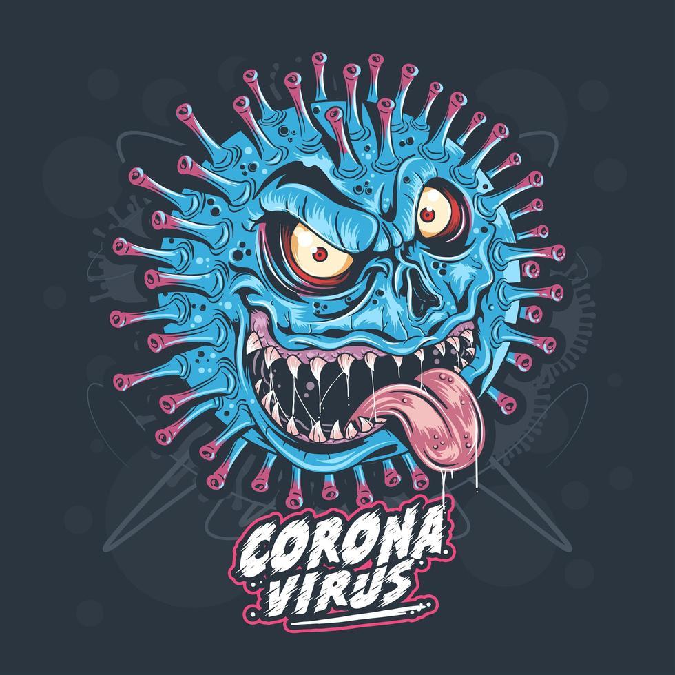 germe de monstro de coronavírus vetor