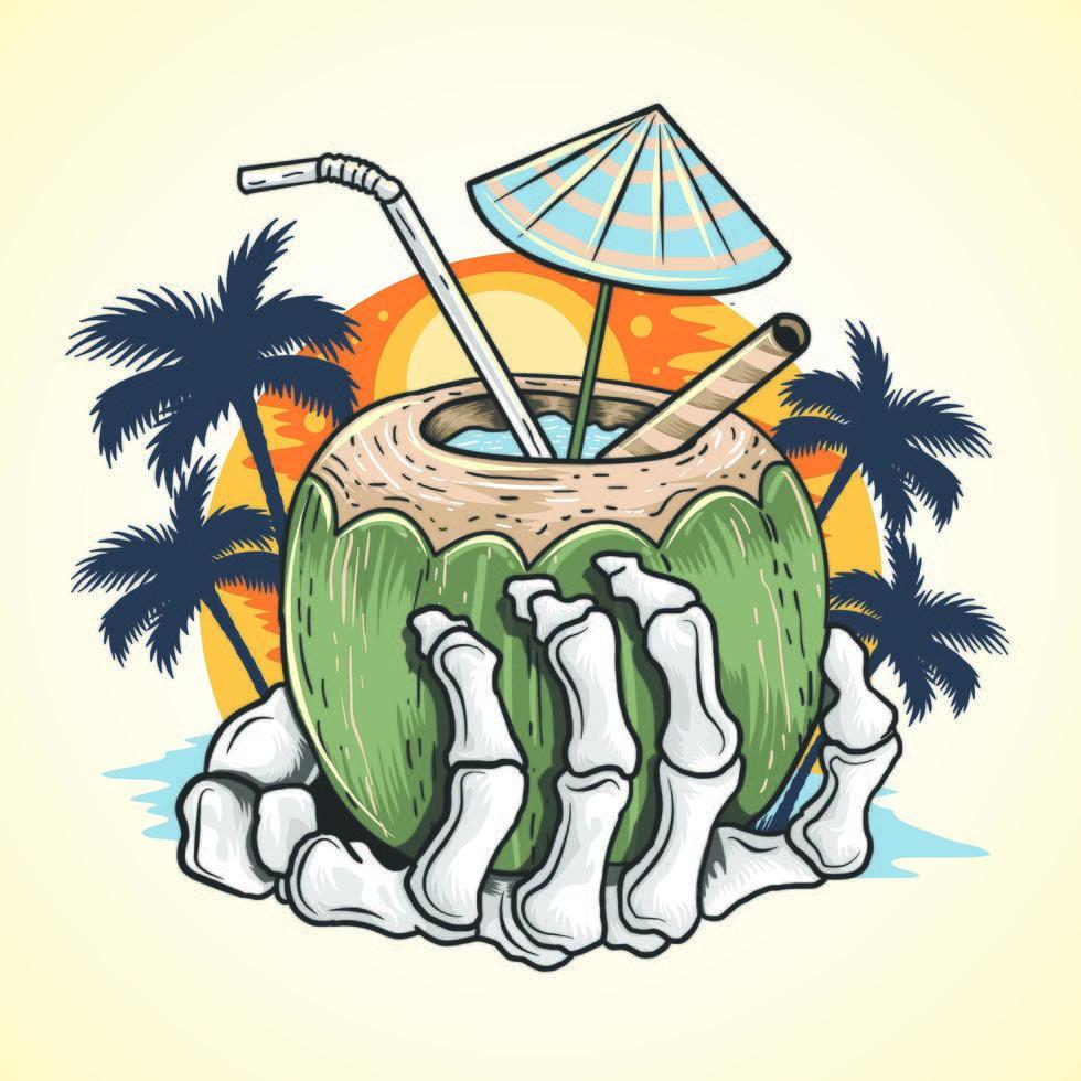esqueleto mão segurando bebida tropical vetor