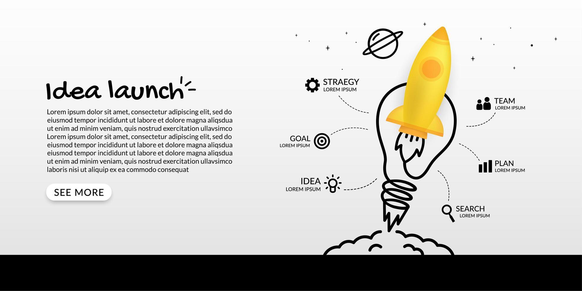 infográfico com lançamento de foguete e lâmpada vetor