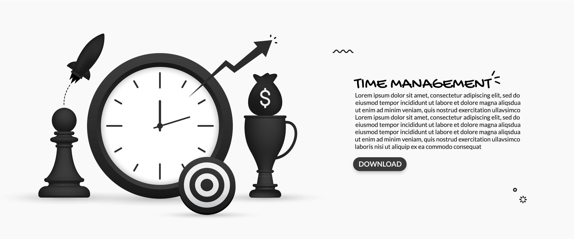 design de gerenciamento de tempo com relógio grande vetor