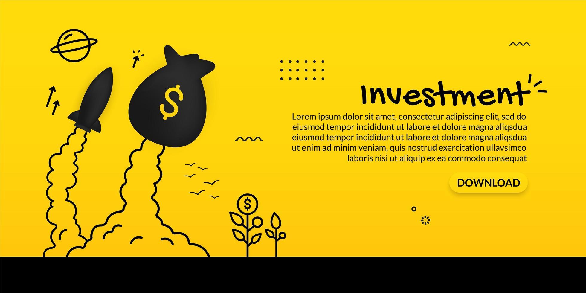 lançamento de saco de dinheiro e nave espacial em amarelo vetor