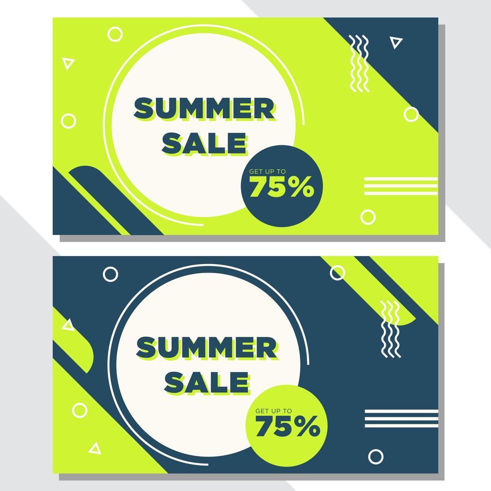 banners de venda de forma geométrica verde e azul vetor
