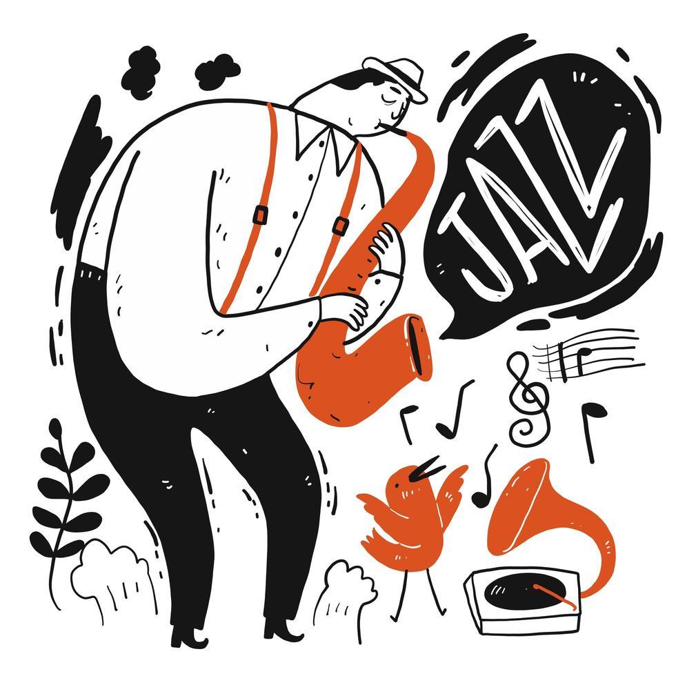 mão desenhada homem tocando música jazz no saxofone vetor