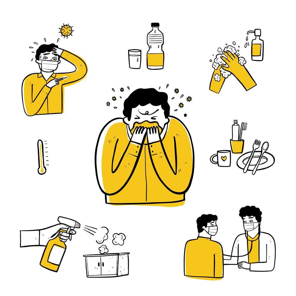 mão desenhada homem doente e conjunto de elementos de saneamento vetor