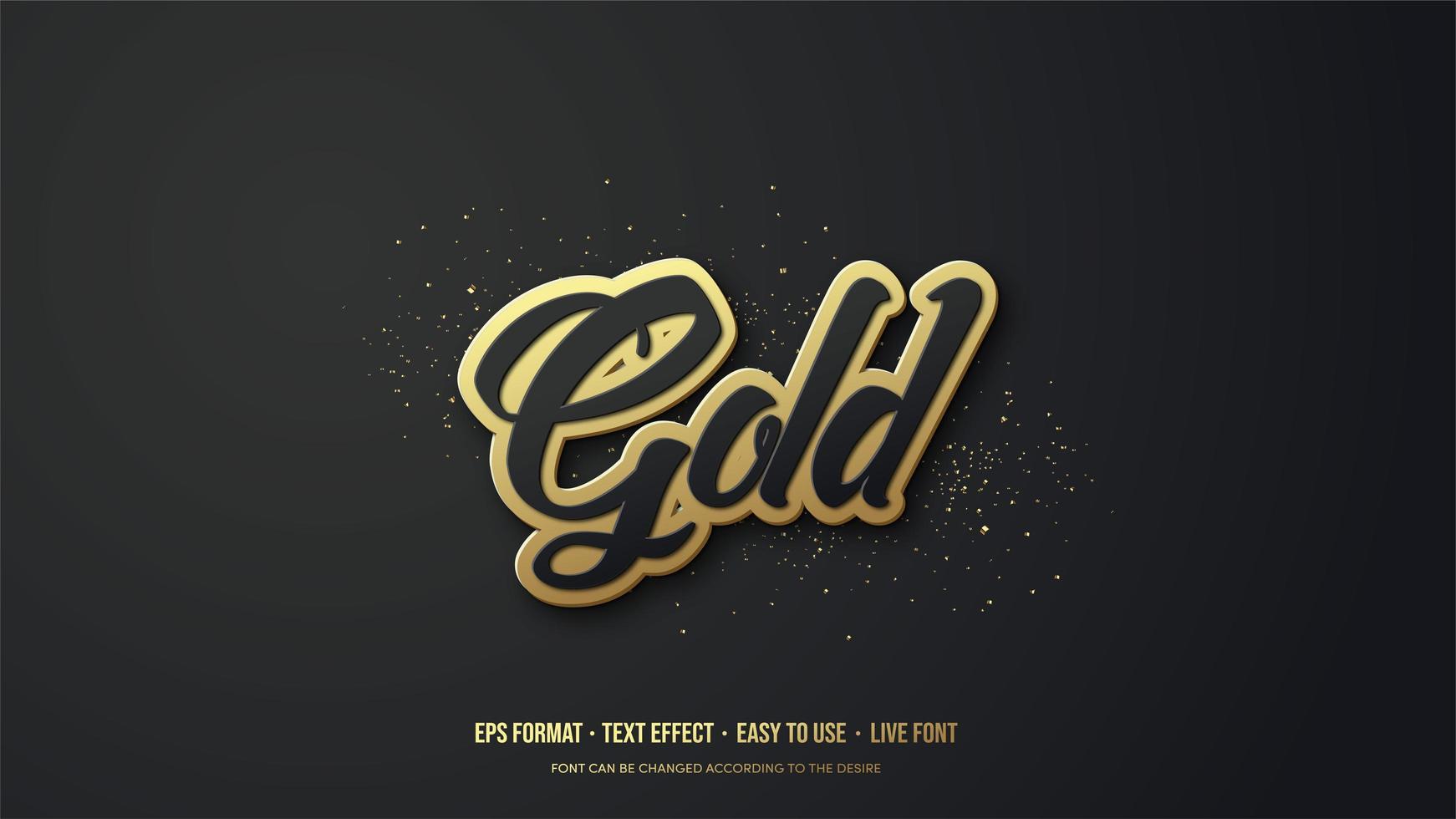 efeito de estilo de texto com escrita de ouro 3d vetor