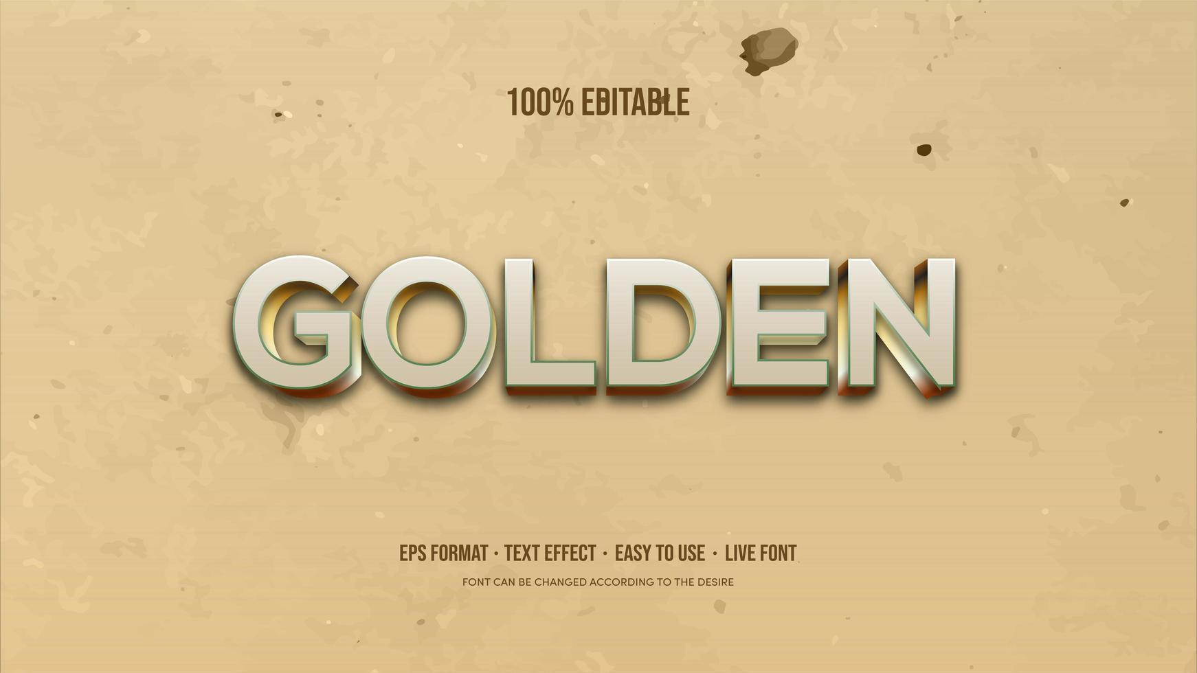 efeito de texto com prata e ouro escrita 3d vetor