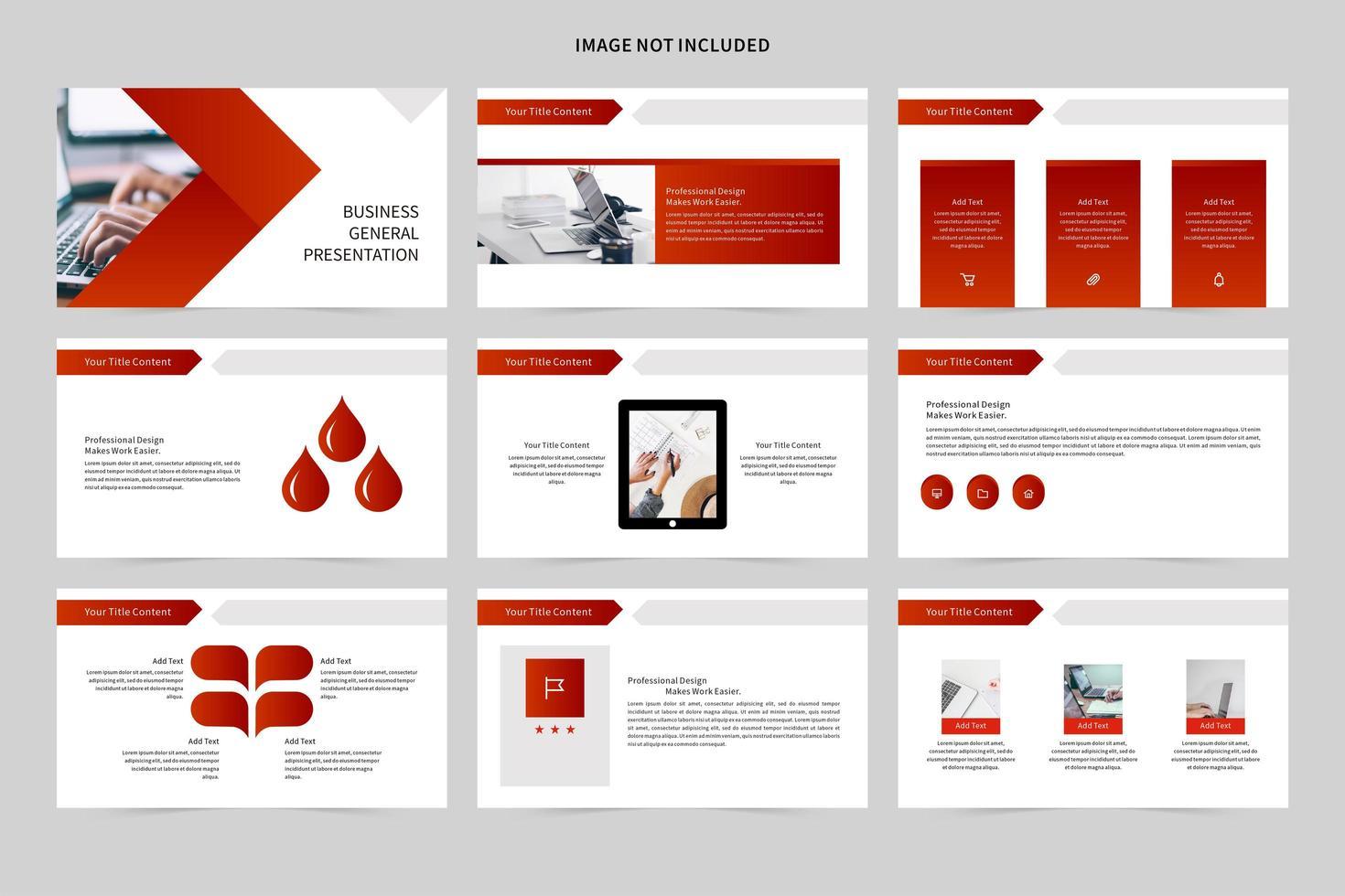 apresentação de slides de negócios branco e vermelho vetor