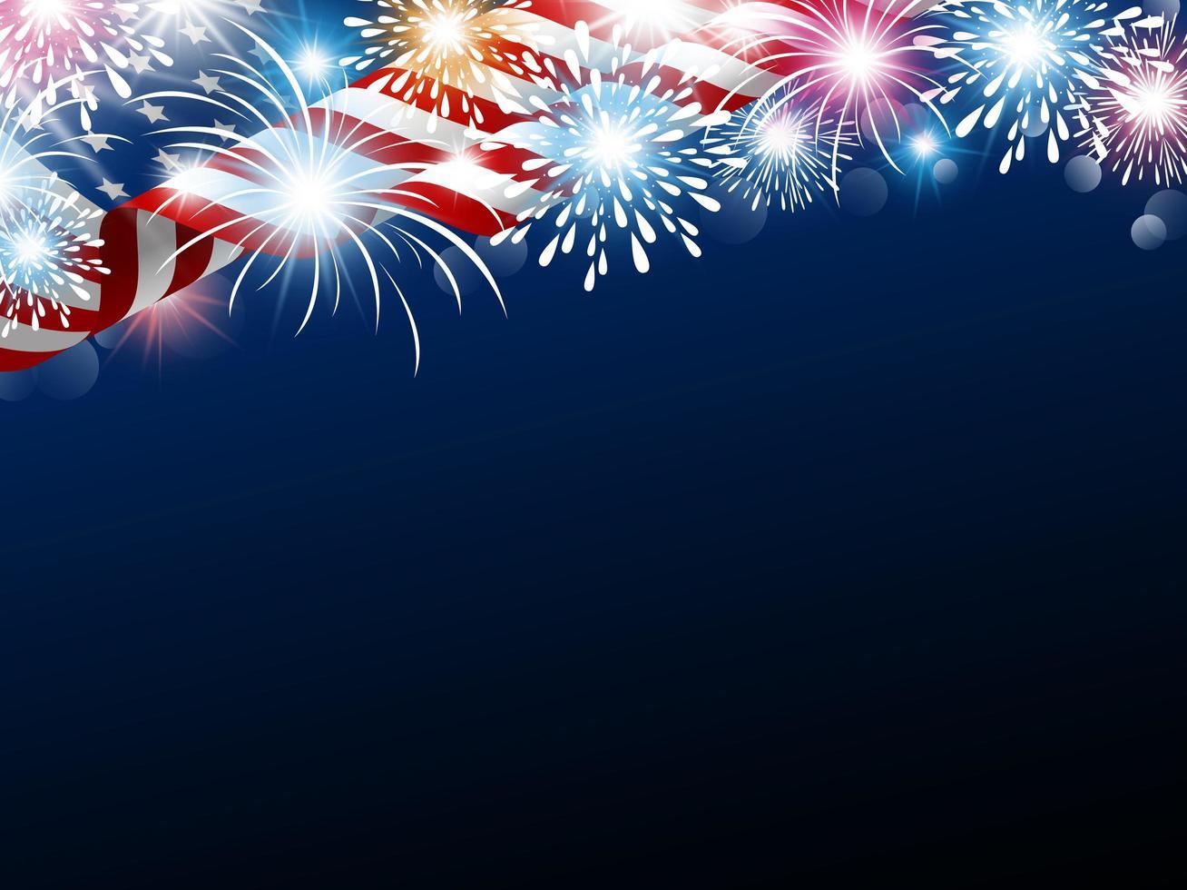 Bandeira dos EUA com fogos de artifício e espaço de cópia vetor